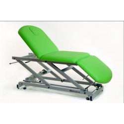 Camilla eléctrica tipo sillón de 3 secciones con portarrollos, tapón facial y ruedas escamoteables